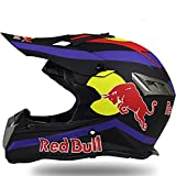 Cascos de Motocross,Cascos Modulares Casco de Motocross Certificación DOT/ECE Casco de Rally Para Hombres y Mujeres Cuatro Estaciones Casco Integral Gafas Guantes Red Bull A,M