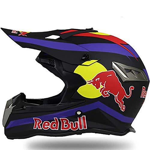 Full Face Motocross Motorcycle Helmets,DOT/ECE Approved Men's and Women's Rally Helmet Four Seasons Mountain Bike Full Face Helmet Glasses Gloves Red Bull A,L