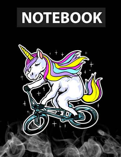 Funny Magic BMX Bike Bicycle Rider Unicorn Costume Journal Notebook / Greeting Card Alternative / 130 Pages 8.5''x11'