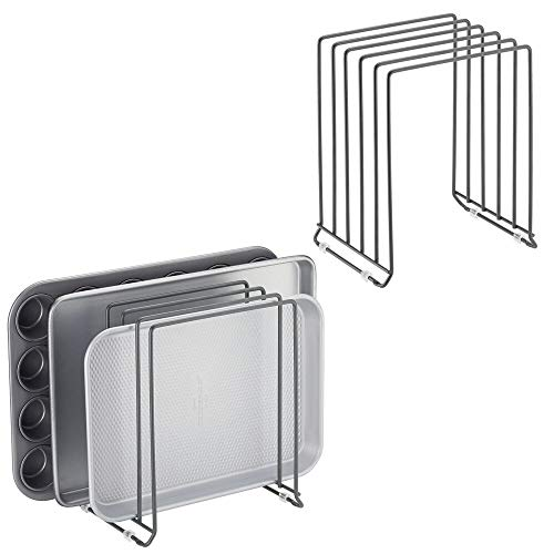 mDesign Metal Wire Organizer Rack for Kitchen Cabinet, Pantry, Shelves - Holder with 5 Slots for Skillets, Frying Pans, Lids, Cutting Boards, Vertical or Horizontal Placement - 2 Pack - Graphite Gray