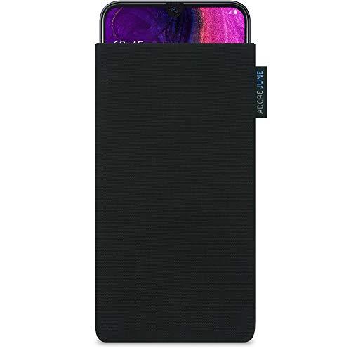 Adore June Classic Schwarz Tasche für Samsung Galaxy A50 Handytasche aus beständigem Cordura Stoff | Robustes Zubehör mit Bildschirm Reinigungs-Effekt | Made in Europe