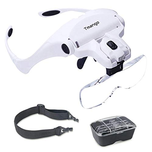 TMANGO Head Mount Magnifier with Lights, Magnifying Headset Glasses for Close Up Work, Watch, Cross-Stitch, Jewelry, Embroidery, Arts & Crafts or Reading Aid with Headband