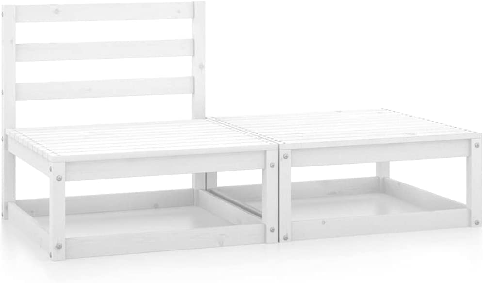 vidaXL Madera Maciza de Pino Set de Salón de Jardín de 2 Piezas Mobiliario Exterior Patio Terraza Hogar Sofá Silla Mesa Asiento Suave Robusto Blanco