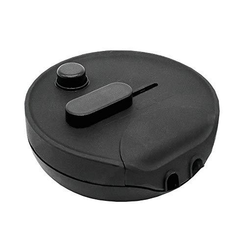 Fußdimmer 60-300W schwarz Rund Universal-Dimmer Schnur-Zwischendimmer für Glühlampen, Halogen und LED mit Schieberegler u. Druckschalter 230V Mod. 1012S
