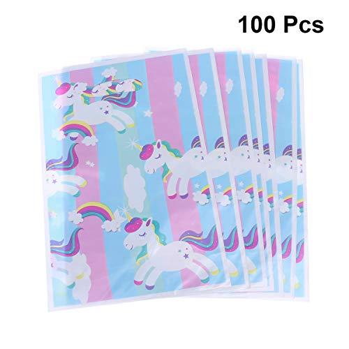 NUOBESTY 100 Piezas Bolsas De Regalo De Unicornio Bolsa De Dulces Golosinas Arco Iris De Dibujos Animados para Unicornio Temática Fiesta