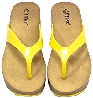 Glitter Contrast Sole Wedge Flip Flops for Women