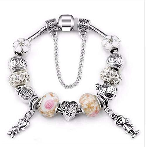 Antique Pink Rhinestone Charms Handmade Bracelet fit Pa Bracelets & Bangles For Women LightYellowColor