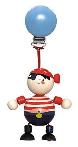 Hess Jouet en bois 12759 – Pendentif en bois série pirate pour bébé à partir de 3 mois Fait à la main avec clip de sécurité env. 7 x 3,5 x 16 cm pour poussette et nacelle
