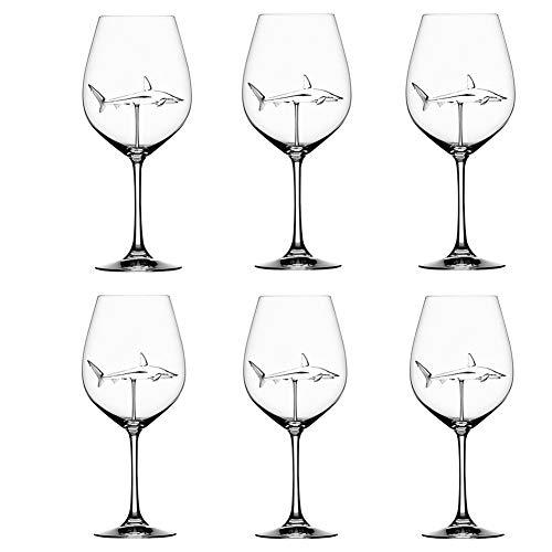 Godob Bicchieri da vino rosso con squalo all'interno calice in vetro trasparente senza piombo per casa bar party