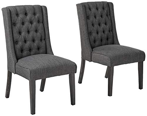 Best Master Furniture Newport Contemporary Tufted Dining Chair, Set of 2, Charcoal