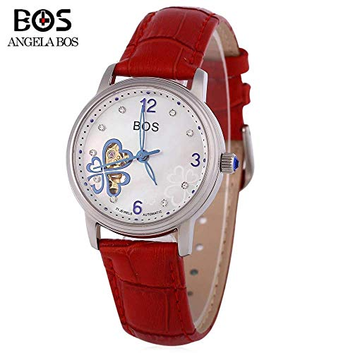 Angela Bos 9003 Women Automatic Wind Mechanical Watch Artificial Diamond Dial Hollow Pointer 10ATM Wristwatch