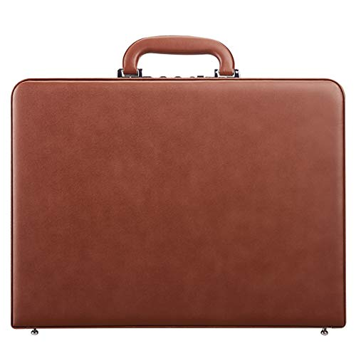 Hard Attache Briefcases for Men & Women/Slim Hard-sided Laptop Brief Case with Combination Locks - Brown
