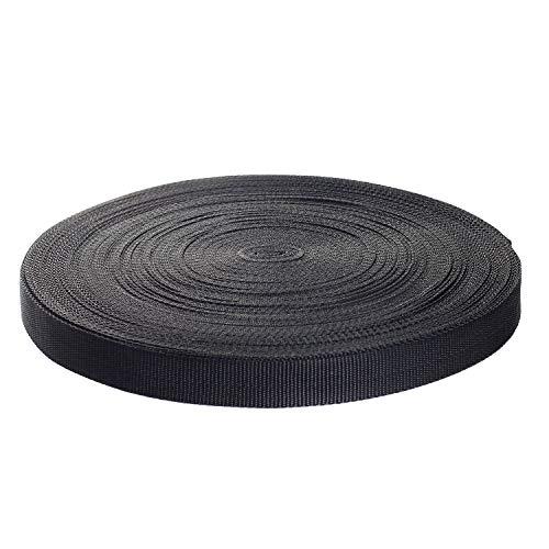 50 Meter x 25mm PP Gurtband - 1,4mm Stark - Gurtband aus Polypropylen - 50 Meter Länge und 25 mm Breite, Schwarz, TKB5070-black