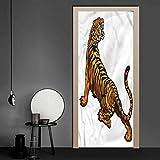 3D Door Sticker Tattoo, Tiger Roaring Safari 3D Door Mural Art Sticker DIY Art Home Decor Poster Decoration 38.6 x 78.7 Inch