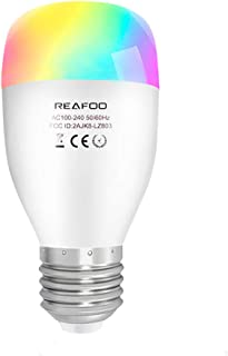 Smart Light Bulb, REAFOO Smart WiFi LED Light Bulb with Daylight Soft White Light 2700k-6500k, Dimmable E26 Color Changing Lights for Room Stage Party with Timer Remote, Work with Alexa Google Home