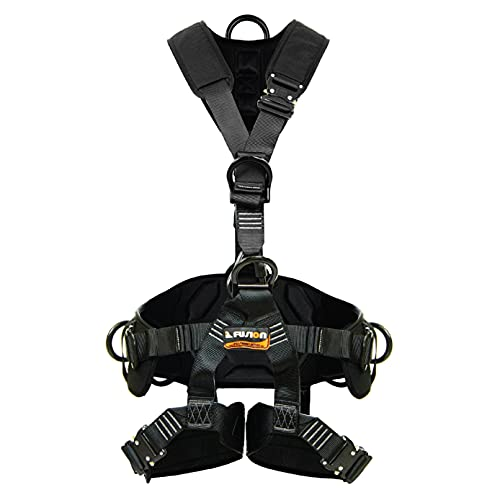Fusion Climb Tac-Scape Heavy Duty Tactical Full Body Padded Y Style Rescue Harness, Black/Gray, Small (TCH-603-S)