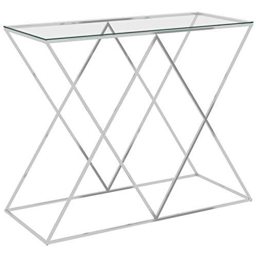 vidaXL Table d'Appoint Table Console Table de Salon Meuble de Salle de Séjour Maison Intérieur Argenté 90x40x75 cm Acier Inoxydable et Verre