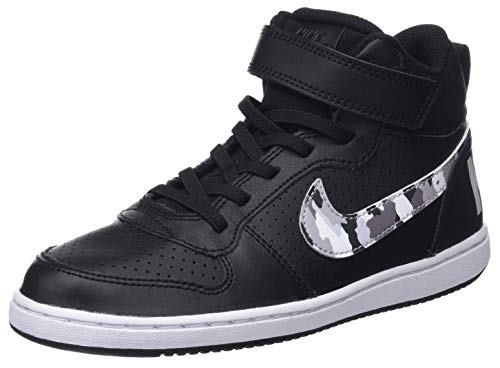 Nike Jungen Court Borough Mid (PSV) Fitnessschuhe, Mehrfarbig (Black/Multi/Color/Pure Platinum/White 008), 31 EU