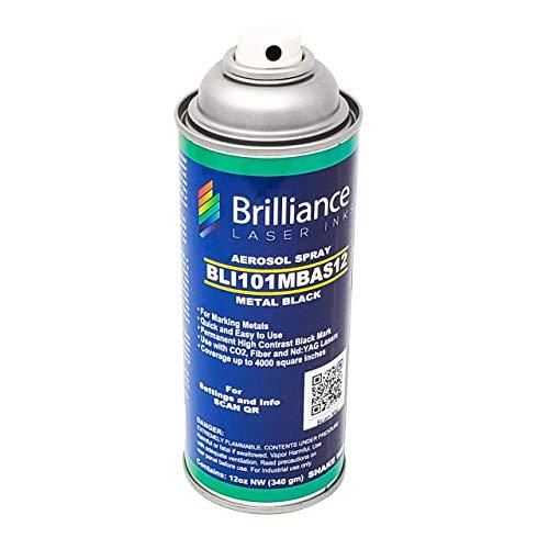 12 Oz - BLI101 - Aerosol Black Laser Ink for Metals Marking - CO2 Laser - Fiber Laser - YAG, 100% Satisfaction Guarantee, Durable, Permanent, High Contrast, Brilliance Laser Inks