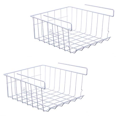 ASTOTSELL Under Shelf Storage Basket, 2-Pack Under Shelf Hanging Metal Wire Storage Basket Organizer for Kitchen, Office, Pantry, Bathroom, Cabinet, White