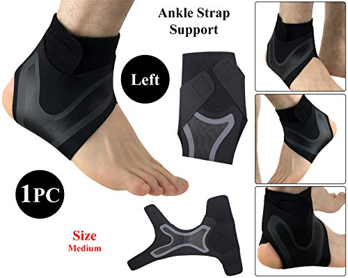 Elastic Ankle Brace Support Adjustable Heel Protector Compression For Gym Basketball Sports Foot Safety and Pain Relief - Left - Medium