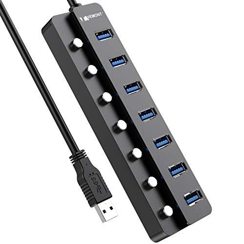 Hub USB 3.0, VEMONT 7 Puertos Aluminio Hub USB Datos Divisor de Extensión USB con interruptores LED de Encendido/Apagado Individuales, Cable de 1,2 m para Ordenador portátil, PC,PS4,MacBook,XPS y más