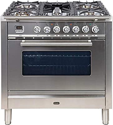 Ilve UPW90FDMPILP 36 Pro Series Freestanding Dual Fuel Liquid Propane Range with Single Oven 4 Sealed Burners Single Oven Griddle Rotisserie and Warming Drawer in Stainless Steel