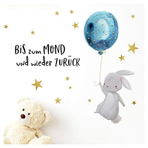 Little Deco Wandtattoo Kinderzimmer Hase & Zitat Bis zum Mond I 85 x 49 cm (BxH) I Luftballon Kinderbilder Deko Babyzimmer Junge Aufkleber Sticker Wandaufkleber DL206-2