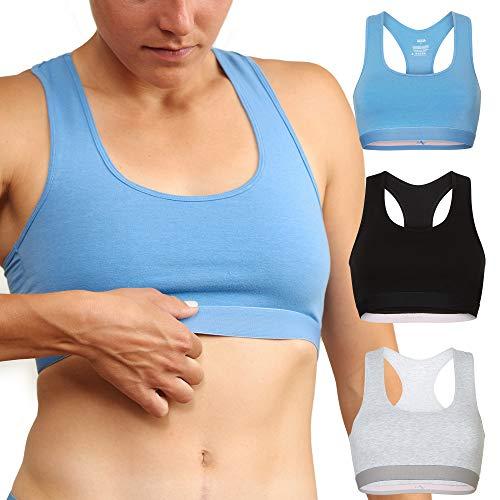 DANISH ENDURANCE Damen Bralette BH aus Bio-Baumwolle 3 Pack (Mehrfarbig (1x Schwarz, 1x Grau, 1x Blau), Medium)