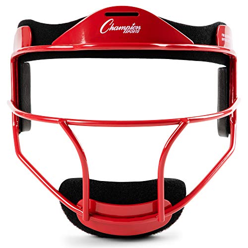 Champion Sports Steel Softball Face Mask - Classic Fielders Masks for Youth - Durable Head Guards - Premium Sports Accessories for Indoors and Outdoors - Red