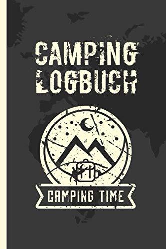 Camping Logbuch: Wohnmobil / Wohnwagen Urlaub Reisetagebuch | Van Caravan Camper Reisemobil Zelt Survival | Tagebuch Notizbuch Buch Journal | (v. Weltkarte Dunkel)