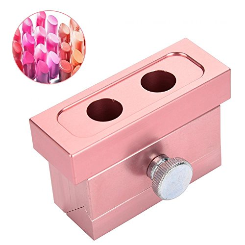 Molde de lápiz labial DIY, Lip Balm Make Tool Kit Conjunto de aleación de aluminio, Silicona Simple Design Mold Rouge Stick(2-hole Lipstick Mold)