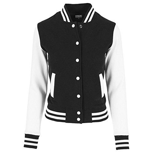 Urban Classics Ladies 2-Tone College Sweatjacket Sweat-Shirt, Multicolore (Blk/WHT), (Taille Fabricant: Medium) Femme