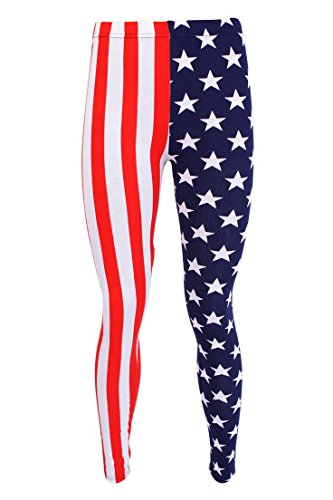 Islander Fashion Damen Plain Stretchy Leggings Damen in voller L�nge gedruckt d�nne Legging Hosen USA Flagge S / M EU 36-38