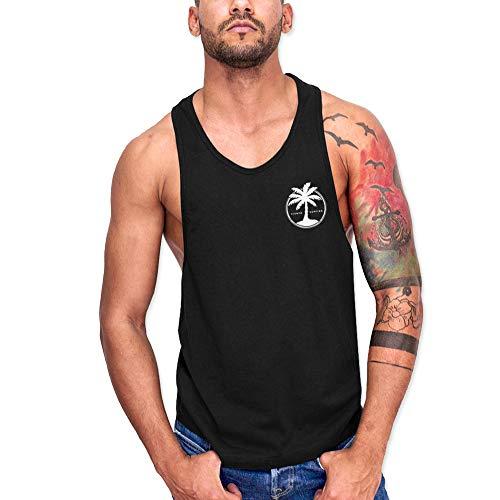 VIENTO Coco Surf Camiseta de Tirantes para Hombre (Negro, M)