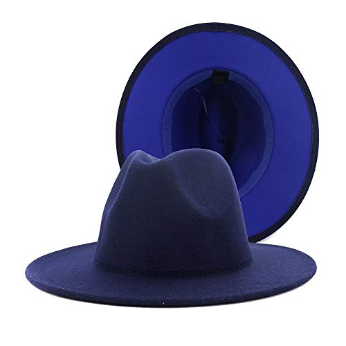 Ancho-Brimmed Fedora Hat Patchwork Lana Fieltro Sombrero Unisex Otoño Invierno Fieltro Sombrero De Moda Algodón Sombrero Gángster Sombrero Adulto Sombrero(Size: 59-61cm,Color:1)