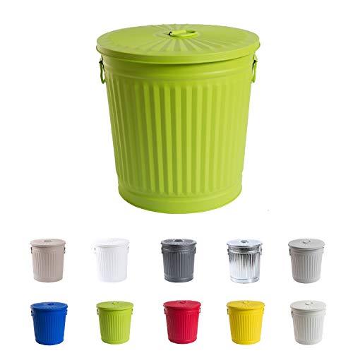 Jinfa | Cubo de basura de metal galvanizado con asas y tapa | Verde | Diámetro Ø 36 cm - Altura 36,5 cm | Capacidad: 35 litros