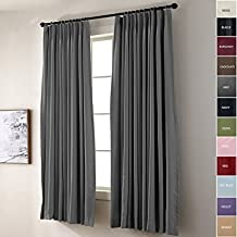 Cottontree Homesoft FirstHomer Pinch Pleat Solid Window Treatment Thermal Insulated Blackout Room Darkening Curtains/Drapes for Bedroom,72 Inch Wide By 96 Inch Long,Grey(One Panel)