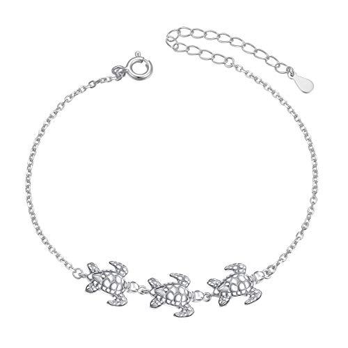 Flyow S925 Sterling Silber Schildkröten-Armbänder für Frauen Teenager Mädchen Verstellbares Tier-Armband Schmuck 17,8 + 5,1 cm