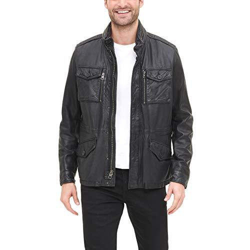 Tommy Hilfiger Herren Smooth Lamb Leather Four Pocket Military Jacket Lederjacke, schwarz, Medium