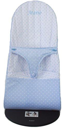 Die Bezug oder die Schutzhülle wendbar für Babywippe oder Hängematte Babybjörn Balance und Babalance Soft mit der Name personaliziert. Verfügbar in mehreren Modellen und Farben (Sterne Hellblau)