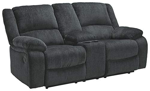Signature Design by Ashley - Draycoll Contemporary Upholstered Double Reclining Loveseat - Console -...