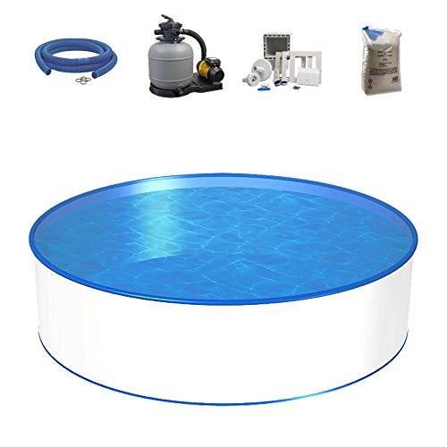 Poolset, Größe & Tiefe wählbar, Aufstellbecken mit 0,4mm Stahlwand, 0,4mm Poolfolie, Sandfilteranlage SF und Filtersand, Skimmer- und Schlauch-Set-450 x 120cm