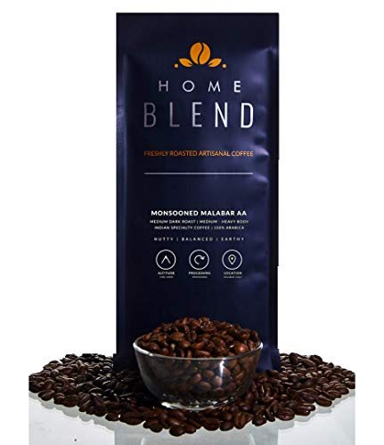 Home Blend Coffee Roasters - Whole Bean Coffee - Monsooned Malabar AA Arabica 100% - Indian Specialty Coffee - Pack of 1 KG (Dark Roast)