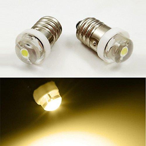 LED-Glühlampe E10, 3V, 4,5 V, 6 V, 0,5 W, 0,75 W, 4300 K, warmweiß, für Taschenlampe, Mini-Stirnlampe, Arbeitswerkzeuge, 4 Stück., 3V