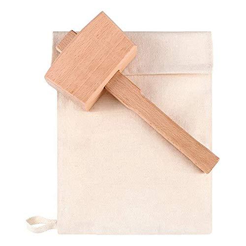 Exanko 2 StüCk Tasche Segeltuch EIS Beutel Wiederverwendbare Segeltuch Tasche Holz Hammer Mallet für Sommer Bartender Bar ZubehhR