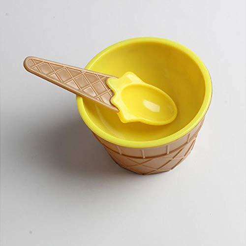 DEI QI Une belle tasse de crème glacée pour enfants Coupe de crème glacée Couples Bol Bol à dessert avec bol à la cuillère Vaisselle pour enfants (Couleur : Jaune)