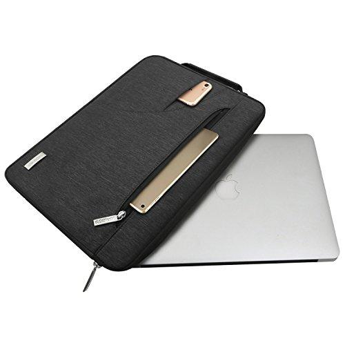 MOSISO Laptop Schultertasche Kompatibel mit 2019 MacBook Pro 16 Zoll Touch Bar A2141, 15-15,4 Zoll MacBook Pro Retina 2012-2015, Polyester Flapover Bote Aktentasche Laptoptasche, Schwarz - 2