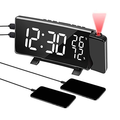 YUNYODA Reloj Despertador de proyección, Reloj Despertador Digital LED de 7 con Puerto de Carga USB Doble, Radio FM, 4 Niveles de Brillo, Humedad, Temperatura, Gran Pantalla LED de Espejo