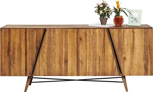 Kare Design Sideboard Madrid, Sideboard aus Massivholz Eiche geölt, mit Einlegeböden, viel Stauram, Retro